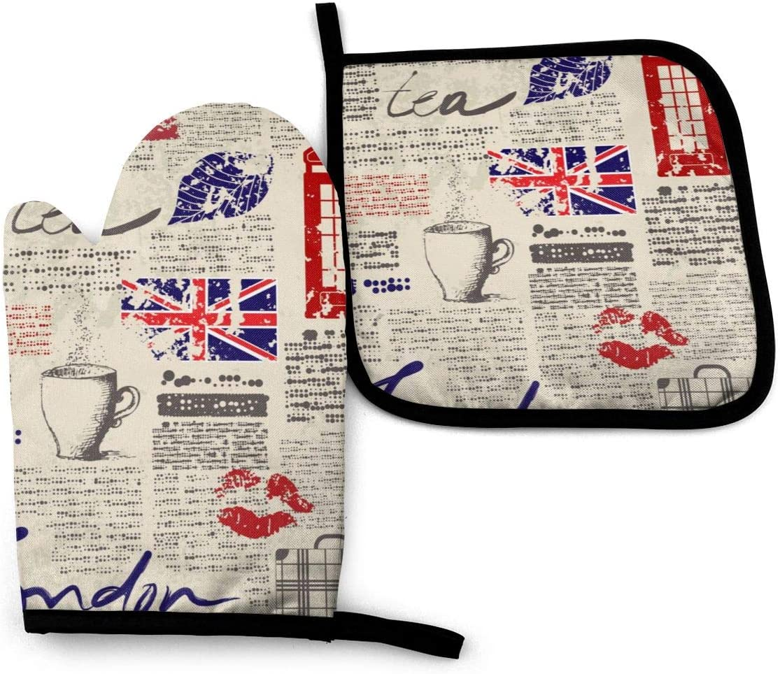 UK Visa Funny Oven Mitts and Pot Holders Girls and Women Men Heat Resistant Kitchen Bake Gloves for BBQ Cooking Baking, Grilling