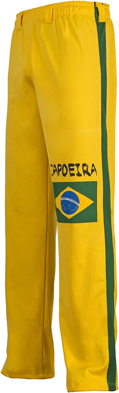 JLSPORT Authentische Brasilianische Capoeira Kampfsport Unisex Hosen Gelb Mit Der Brasilianischen Flagge