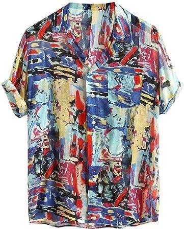 Camisa de manga corta para hombre de algodón puro colorido único estilo hawaii, estampado étnico de verano, cuello descubierto, para hombre