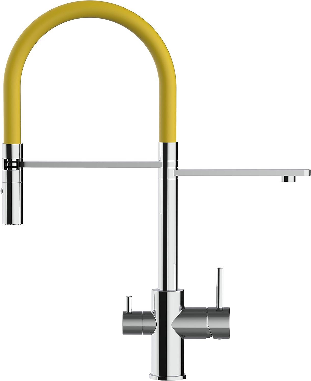 Grifo de cocina AMARILLO 3 vias para sistemas de filtro / purificador de agua - ducha extraíble dos chorros para agua caliente y fría- agua filtrada en caña independiente: Amazon.es: Bricolaje y herramientas