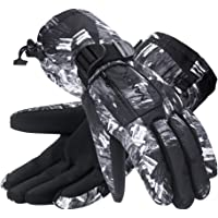 Winter Ski Gloves with Zipper Pocket and Anti-Slip PU Palms for Outdoor Skiing Snowboarding Riding Climbing and Skating