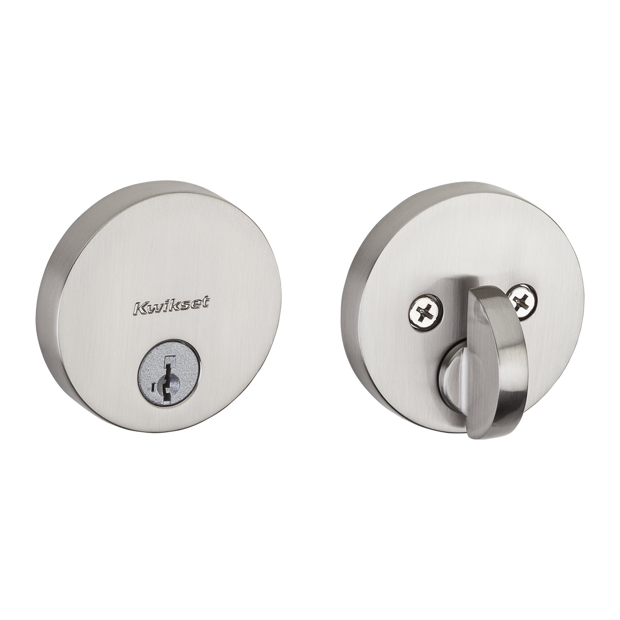 Kwikset 258 Uptown Low Profile Round Contemporary Deadbolt featuring SmartKey in Satin Nickel