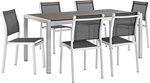 Modway Shore 7-Piece Aluminum Outdoor Patio Dining Table Set