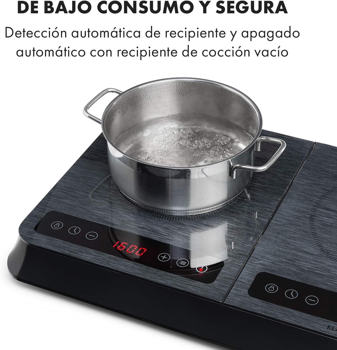 Klarstein InnoChef - Cocina portátil, doble cocina de inducción, 3400W, control táctil, sensor de olla, temporizador apagado, protección contra el ...