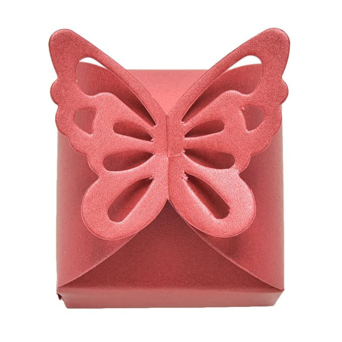 Amazon.com: Kslong 50pcs Boutique Butterfly Candy Box Decoration Boite Dragees Wedding Decoration Gift Favor Boxes (Red): Home & Kitchen