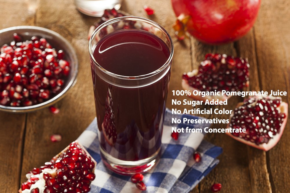 100% Pomegranate Juice - 2 Pack - 33.8 fl oz - USDA Organic Certified - Glass Bottle - No Sugar Added - No Preservatives - Squeezed From Fresh Pomegranates by Blue Ribbon (Image #2)