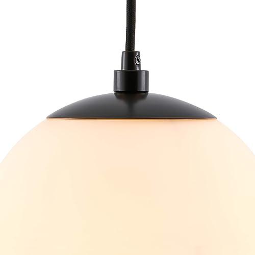 Amazon Brand Rivet Modern Steel and Glass Pendant Lamp, 28.5 H – Matte Black