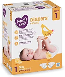 Branded Parent's Choice Diapers, Size 1, 168 Diapers, Weight 8-14lbs - Branded Diapers with Fast delivery (Soft and Comfortable for Babies)
