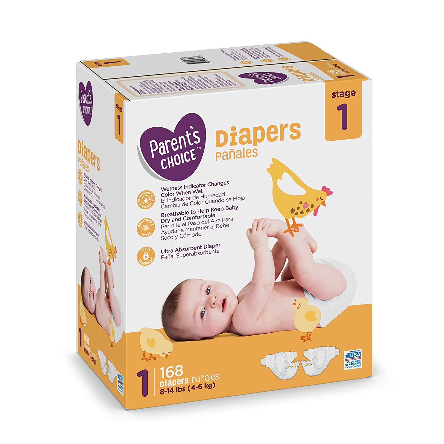 Amazon.com: Branded Parents Choice Diapers, Size 1, 168 Diapers , Weight 8-14lbs - Branded Diapers with fast delivery (Soft and Comfortable for Babies): ...