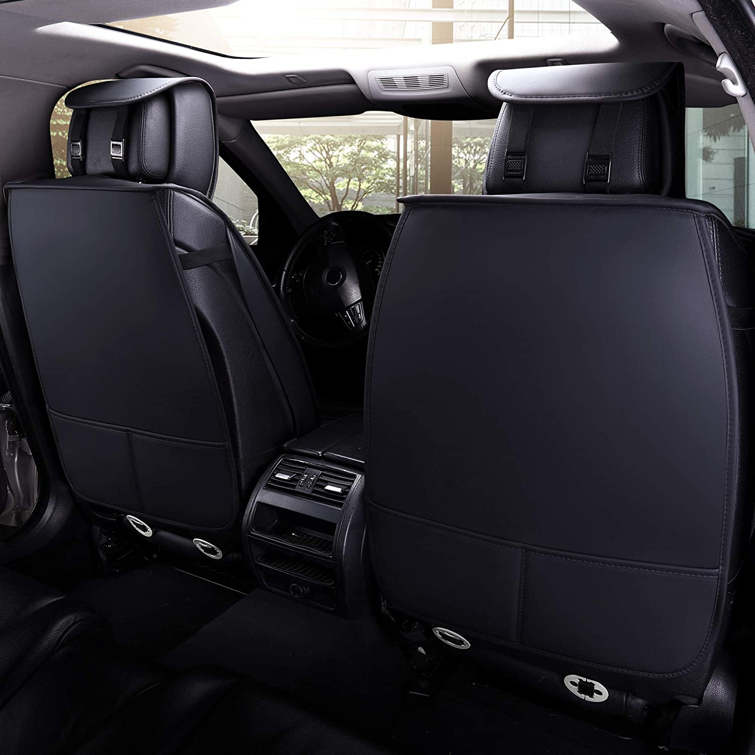 Aierxuan 5 Car Seat Covers Full Set with Waterproof Leather Black, full set Universal Fit for Most Sedan SUV