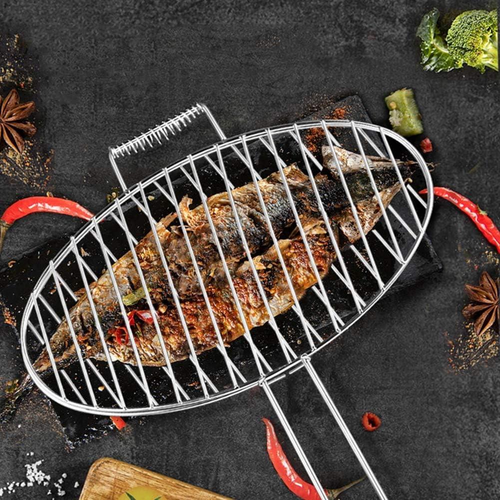 RLF LF Grande Plegable Acero Inoxidable Parrillas para barbacoas Clip de la Barbacoa Espesar Redonda Rejillas para cocinar de BBQ, Pescado a la Plancha Herramienta de Barbacoa, Al Aire Libre,Large