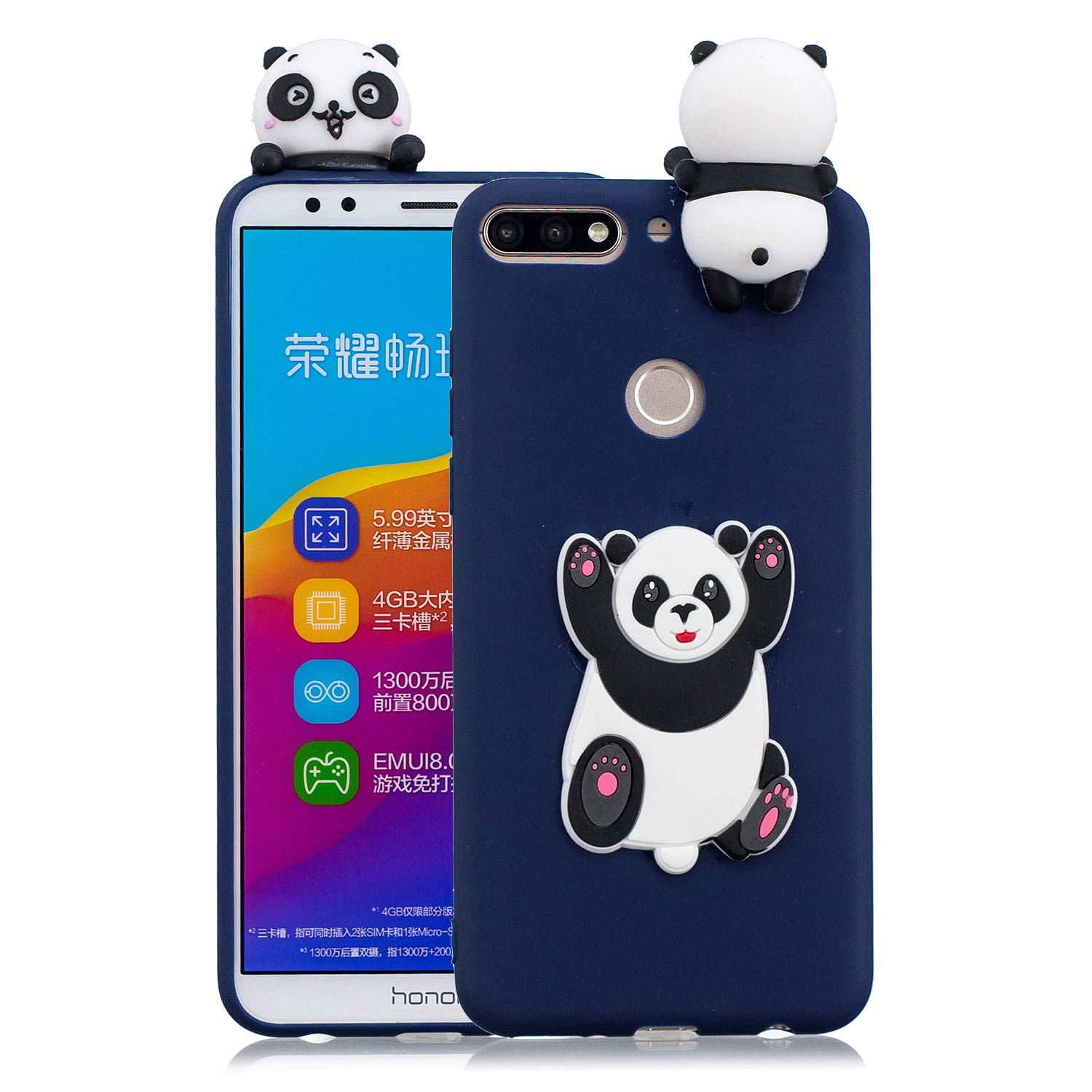 HopMore Coque Huawei Y7 2018 / Honor 7C Silicone Souple 3D Design Motif Panda Animal Drôle Mignonne Etui Huawei Honor 7C / Y7 2018 Étui Antichoc Ultra Mince Fine Gel Bumper Slim Case Housse Protection pour Fille Femme - Panda Girl