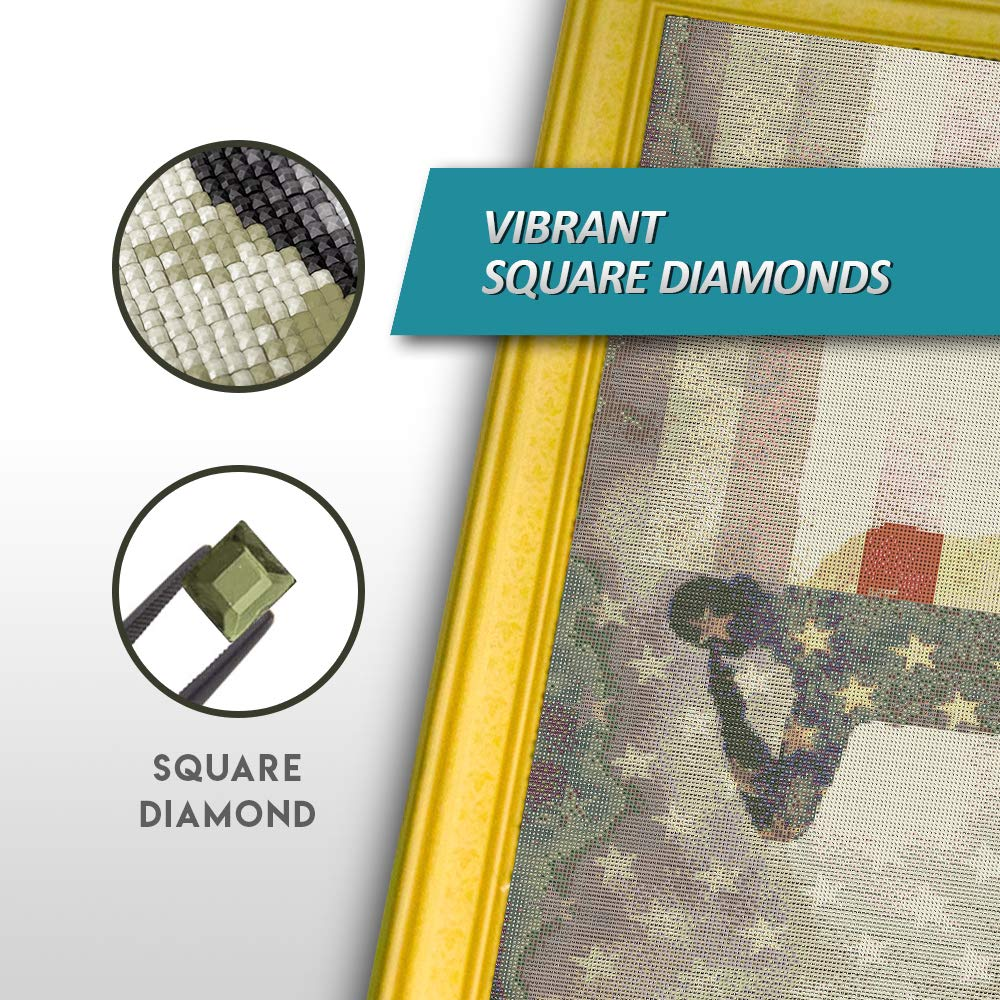 Craftymint XL Full Drill DIY 5D Diamond Painting Kits for Adults and Kids - 24''x28'' Design - Relax and Paint with Diamonds - Art Tool Kit Includes All Accessories (Square, Veteran's Salute)
