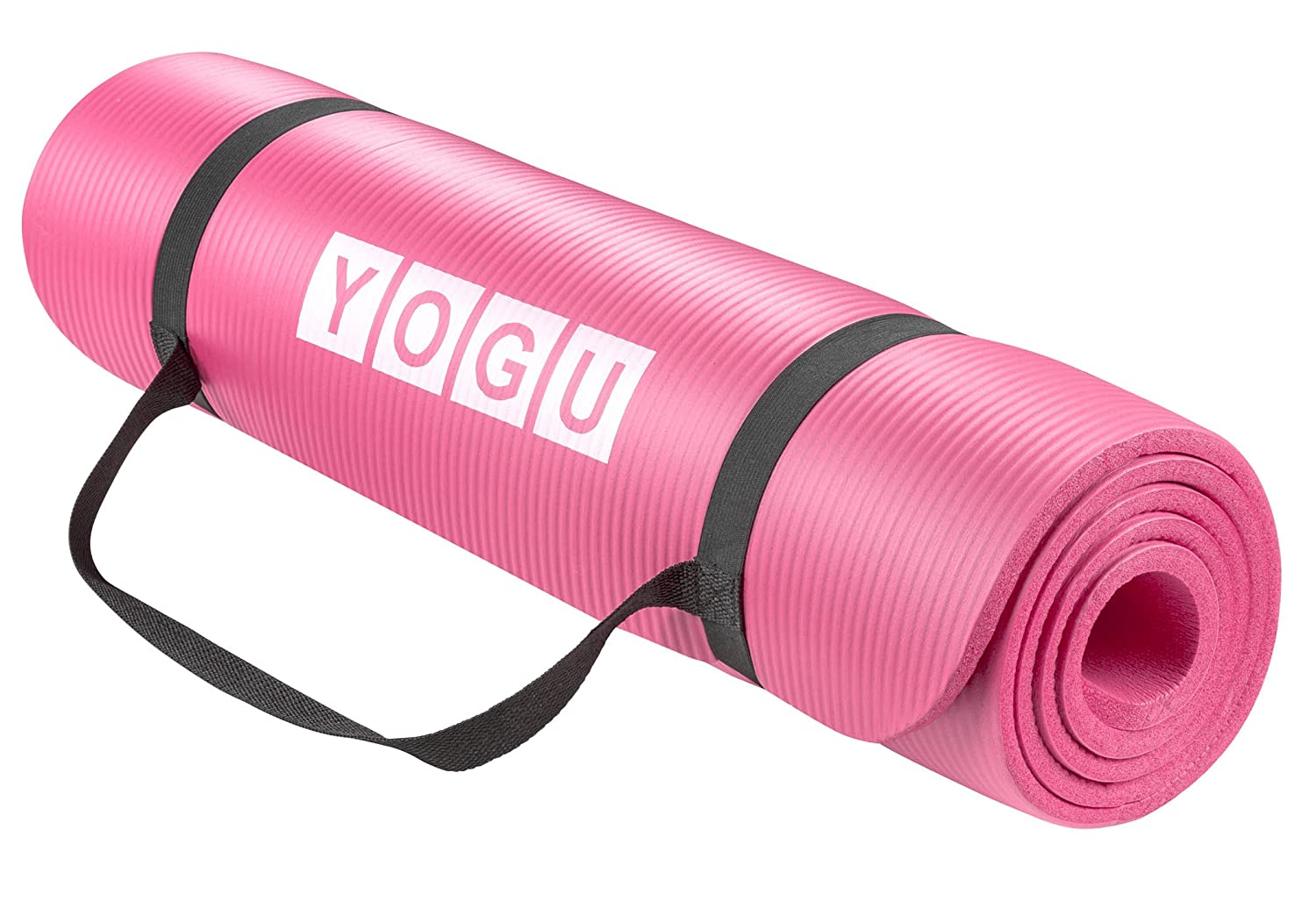 Yoga Mat 1 2 Inch Thick Multi-Purpose Lightweight Pilates Fitness Mats Durable Washable Non-Slip Surfaces Sweat-Proof Gym Workout Exercise Yoga Mat with Carrier Strap – 6 FT x 2 FT