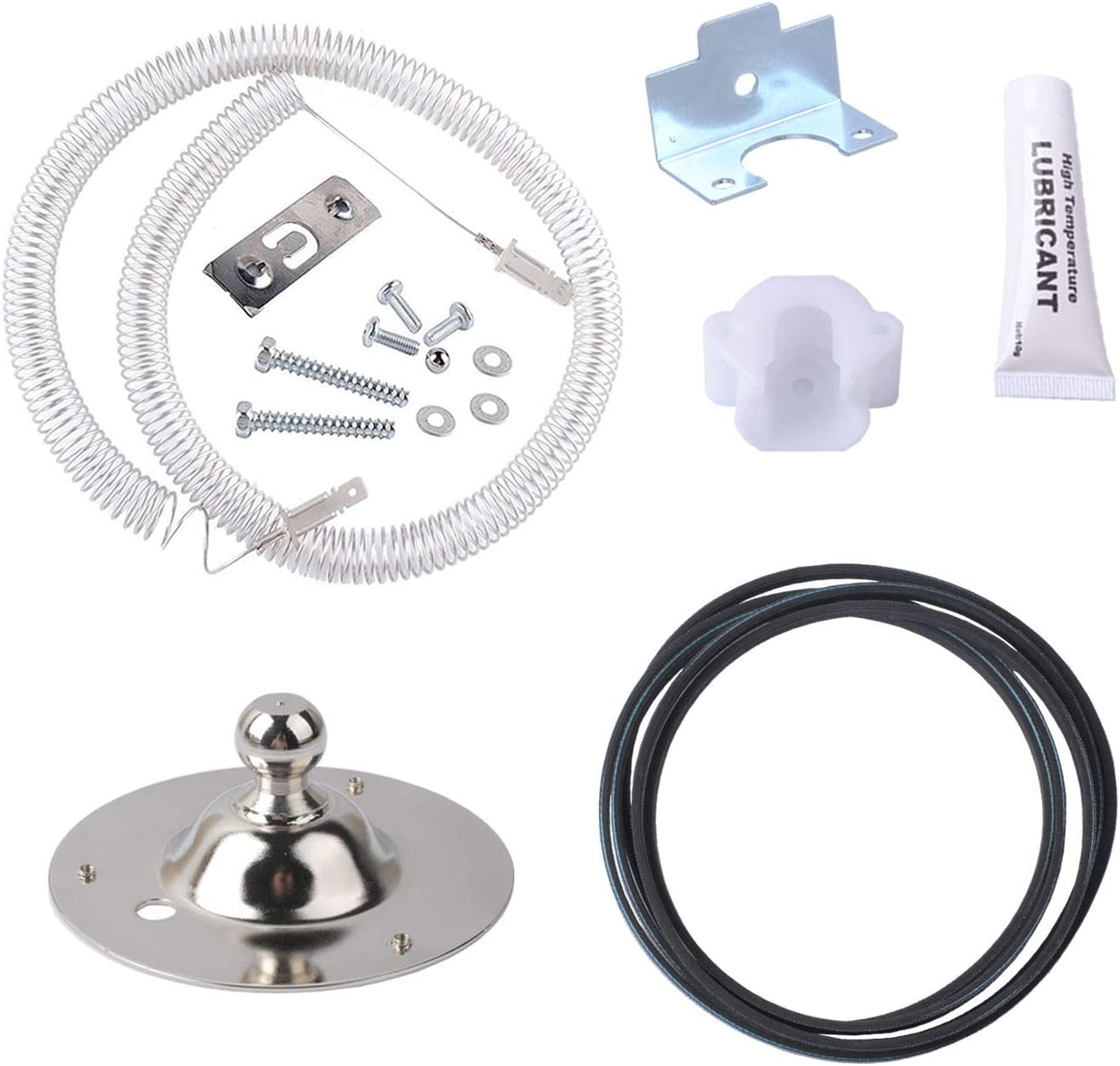 5303281153 Rear Bearing Kit for Tappan, Sears, Kenmore, Frigidaire AP2142648, EA451032, PS459829 with 131553900 Dryer Heating Element Coil, 134503600 Dryer Drum Belt
