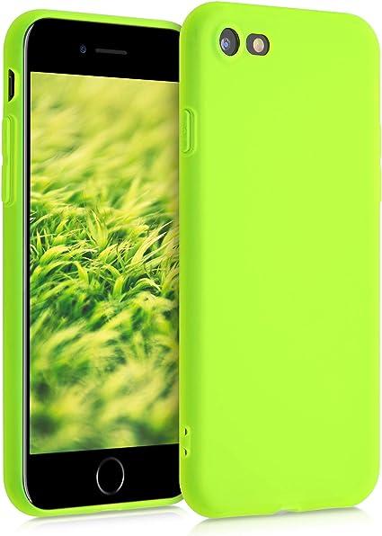 Image ofkwmobile Funda Compatible con Apple iPhone 7/8 / SE (2020) - Carcasa de TPU Silicona - Protector Trasero en Amarillo neón