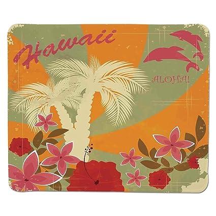 Mouse Pad Unique Custom Printed Mousepad HawaiianAloha Vintage Style Print Colorful Swirl Background