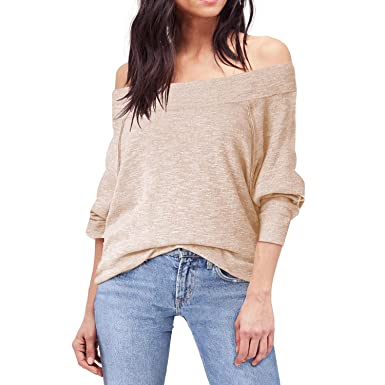 4ea4f7935e Shy Velvet Women s Off Shoulder Dolman Sleeve Baggy Pullover Sweater  Slubbed Knit Jumper Beige