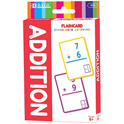 BAZIC Addition Flash Cards, Number Math Card Game Education Training Learning Practice Smart Great for Kids Activities at Home School Classroom (36/Pack): Office Products
