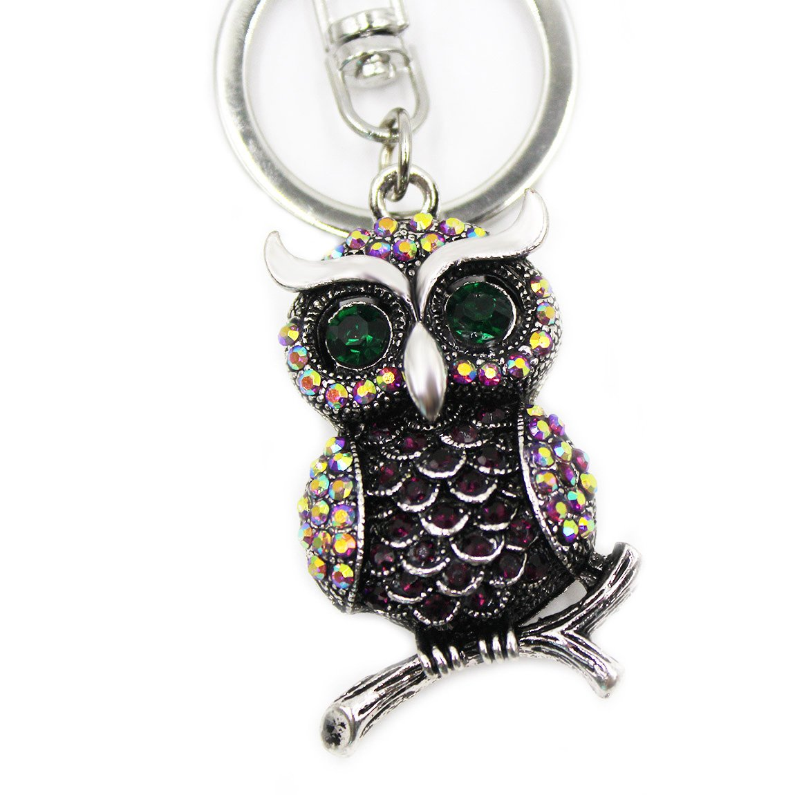 Cute Owl Keychain Crystal Diamond Keyring Mini Decoration for Girls and Women (deep purple)