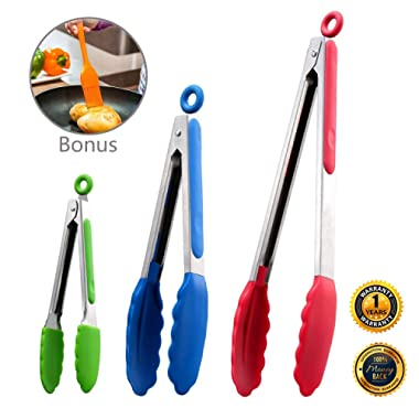 Kitchen Tongs Set of 3, Stainless Steel Tongs with Silicone Tips for Cooking, Barbecue, BBQ Grill, Extra Bonus : Basting Brush for Grilling (Multicolor)