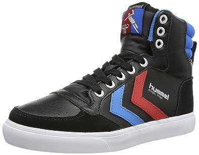 9eade6582bc Amazon.com   Hummel Slimmer Stadil Black Blue Red Leather Mens Hi ...