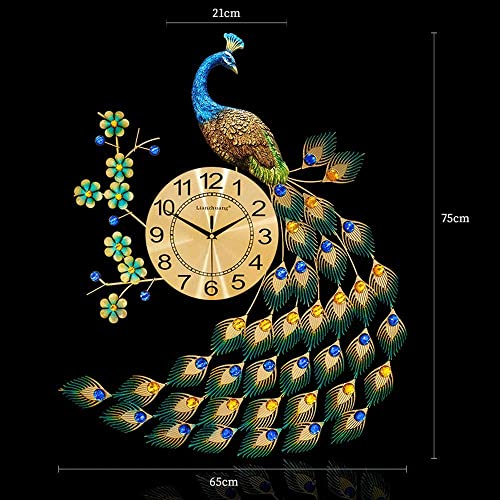 Bidesen Home Deco European Style Peacock Wall Clock Crystal Luxury Living Room Clock Creative Personality Modern Art Decorative Clock Mute Wall Watch Quartz Clock Large Size Color : A