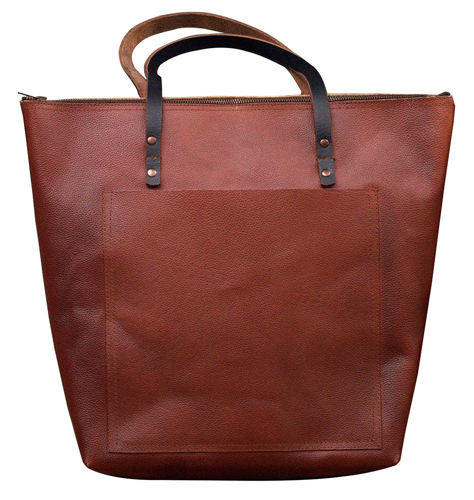 MONT5 GULMIT Leather Tote Bag With Zipper For Women Shopper Travel Overnight