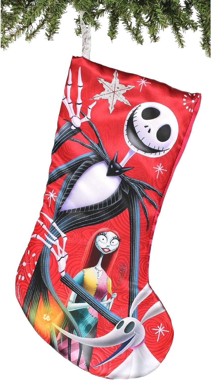 "Kurt Adler 19"" Nightmare Before Christmas Jack & Sally Satin Stocking Standard"