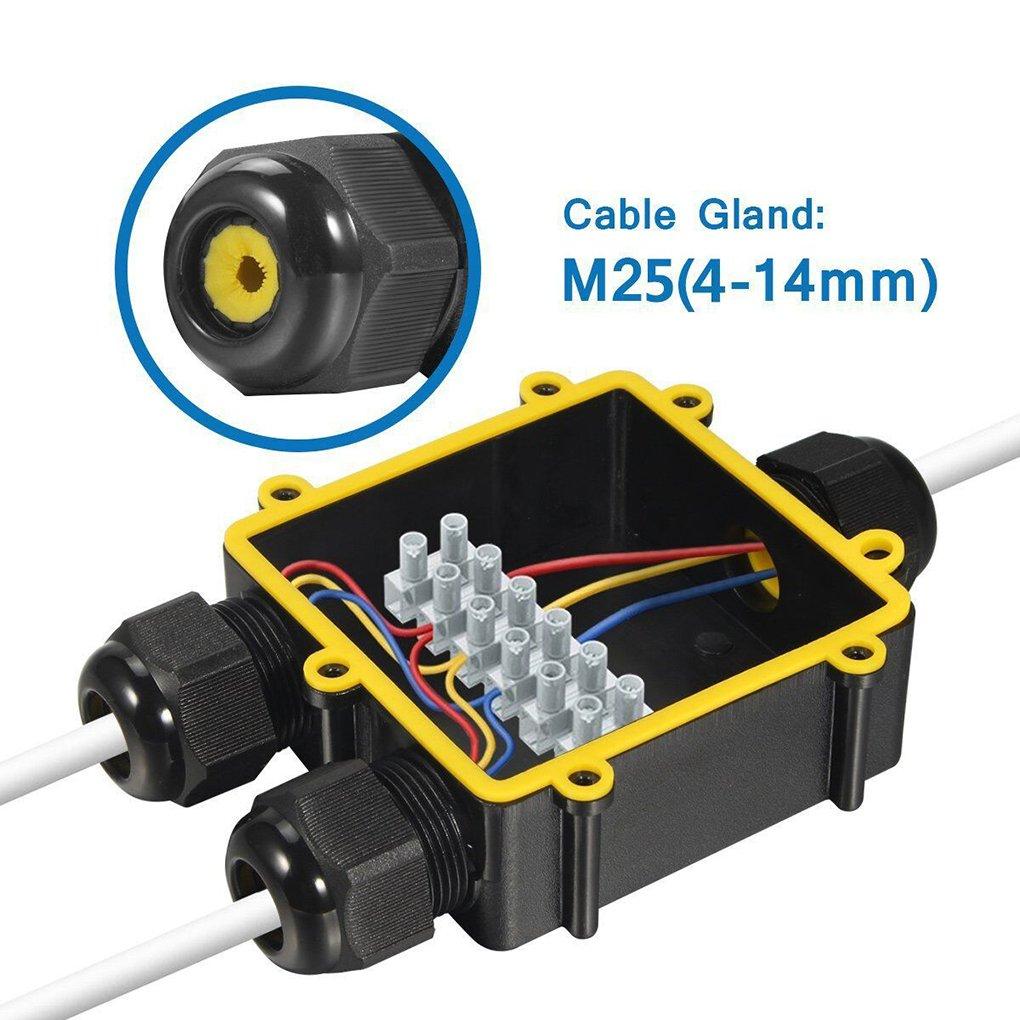 fgghfgrtgtg 3-Way Caso del recinto del Conector 24A 450V Negro Impermeable al Aire Libre IP68 Cable Caja de Conexiones el/éctricas para di/ámetro de Cable 4-8 mm