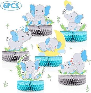 6 piezas de centros de mesa con diseño de elefante azul para bebé ...