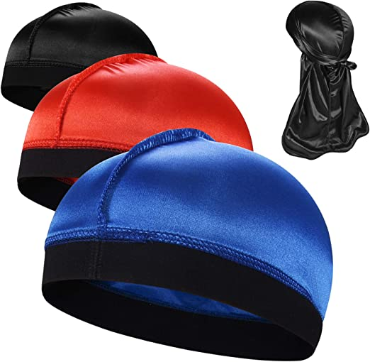 Durag Men Head Cover Cap Long Tail Satin Silk Stretchable Black White Red Blue