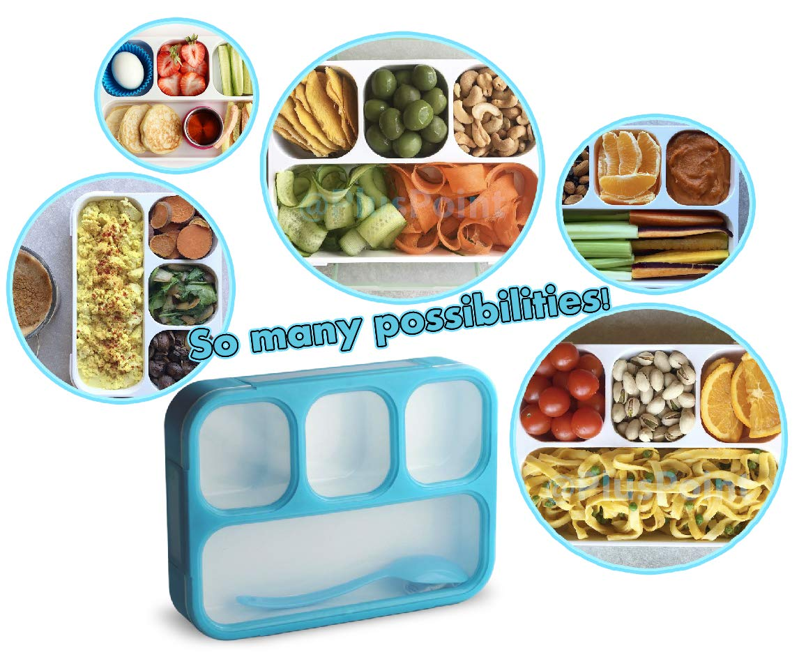 Leakproof Bento Lunch Box With 4 Compartments | Best Food Prep & Meal Planning Container For Kids And Adults | BPA Free & FDA Approved | Microwave, Dishwasher and Freezer Safe By PlusPoint (Blue)