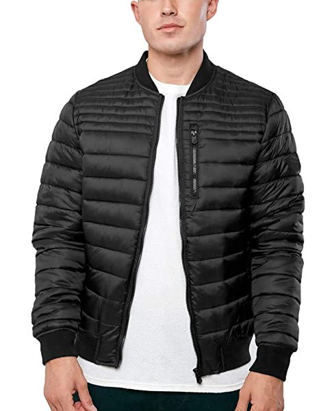 Mens Threadbare Quilted Padded MA1 Bomber Jacket Lined Baseball Collar Coat