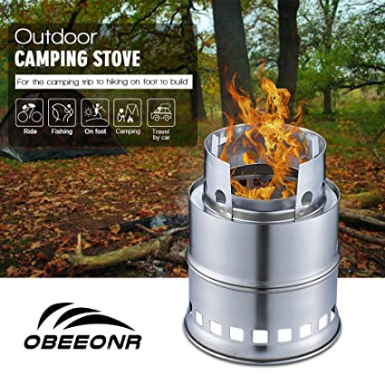Hornillo de Gas Portátil para Camping Estufa de Campaña de Leña, Alcohol, Carbón Fogón