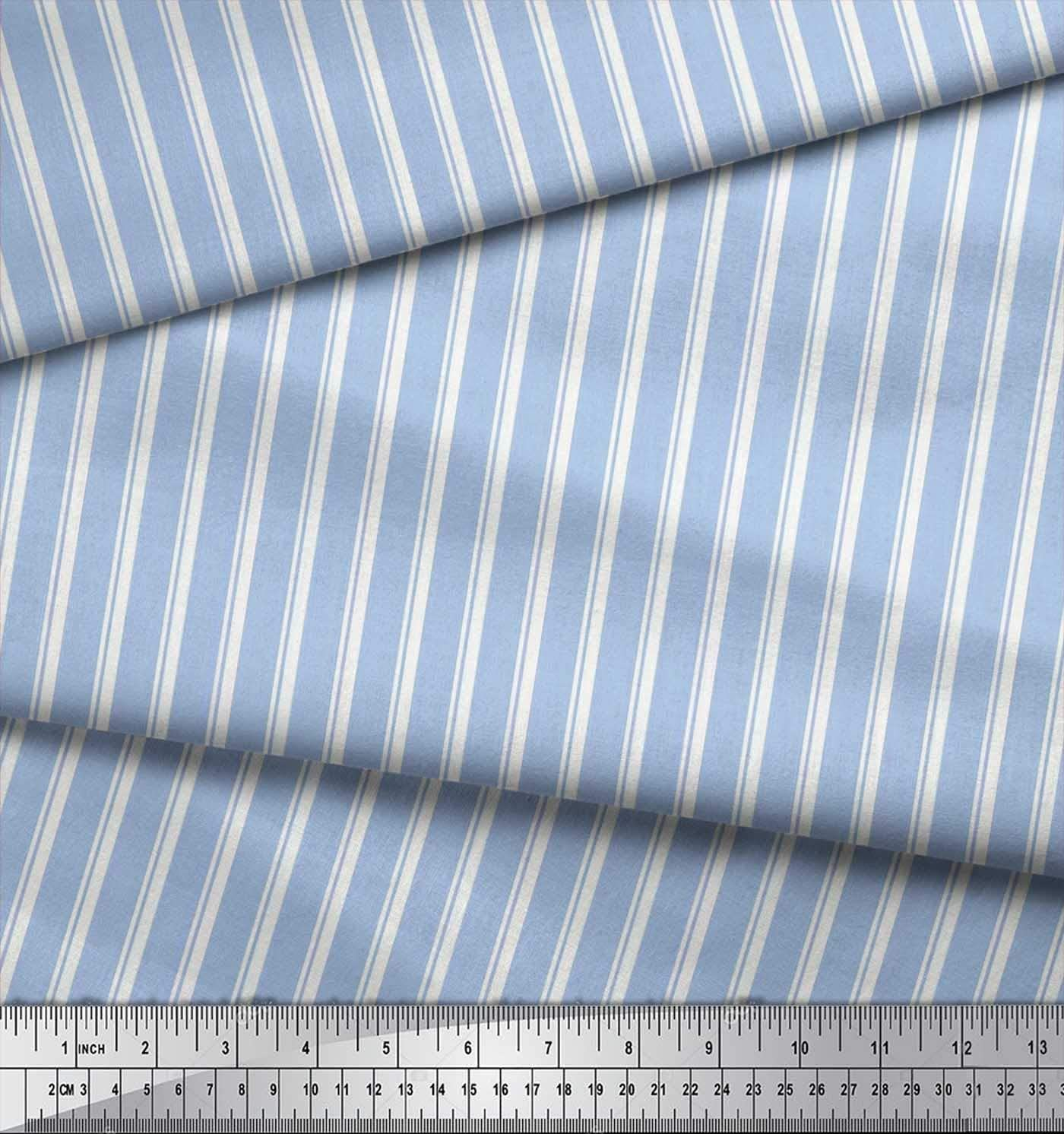 Soimoi Blue Cotton Cambric Fabric Striped Stripe Print Fabric BTY 42 Inch Wide