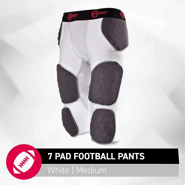 Cramer Thunder 7Pad Football Panty avec intégrée hanche, cuisse et coccyx Coussinets, conçu pour une protection à partir de haute Impact, haute Hip Pad Couverture, rembourrage de protection supplémentaire au niveau de la cuisse, Blanc ou Gris