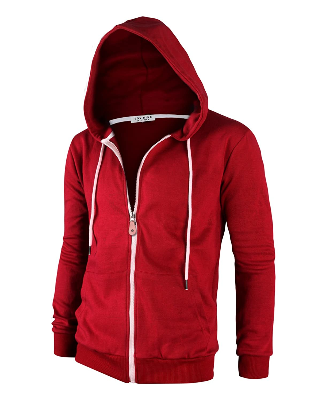 Tov Nine Mens Cotton Lightweight Slim Fit Pocket Zip-up Hoodie Jacket NSS410H