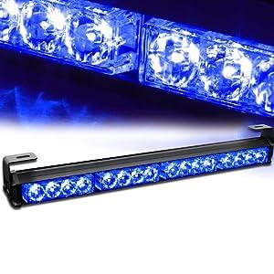 "Xprite 18"" 16 LED Emergency Warning Traffic Advisor Vehicle Strobe Light Bar (Blue)"