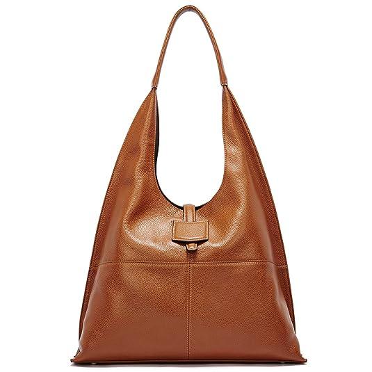 BOSTANTEN Women Hobo Handbag Soft Leather Shoulder Bag Vintage Designer Purses Brown