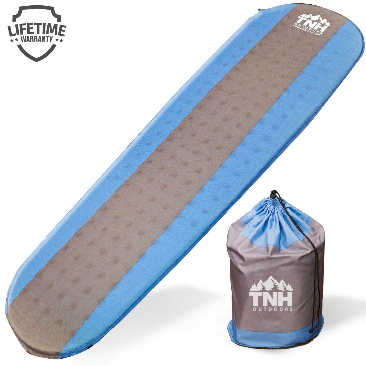 #1 Premium Self Inflating Sleeping Pad Lightweight Foam Padding and Superior Insulation Great For Hiking & Camping Thick Outer Skin TNH Outdoors FBA_2001