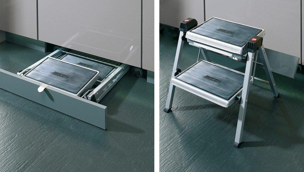 2 Step Stool by Hafele, 330 lbs load capacity, heavy duty, folding, White/Gray, 465mm
