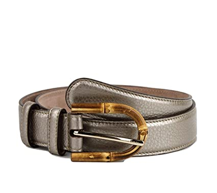 d02ea9c250a Amazon.com  Gucci Women s Metallic Leather Belt with Bamboo Buckle ...