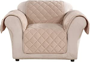Surefit Pet Microfleece Chair One Piece Furniture Throw Cover, Relaxed Fit, Polyester, Machine Washable, Taupe