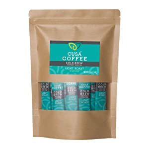 Cusa Coffee: Light Roast Cold Brew Instant Coffee - No Sugar or Preservatives - Ready in Seconds - Hot or Iced (30 Servings)