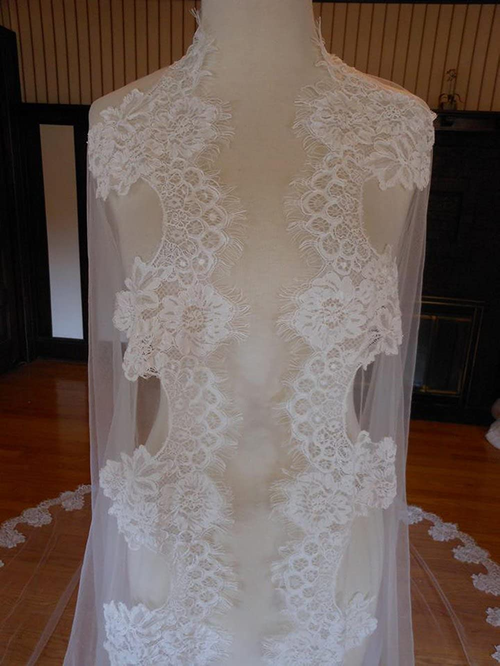 kelaixiang Cathedral Wedding Veil with Chantilly Lace Edge veils for bride
