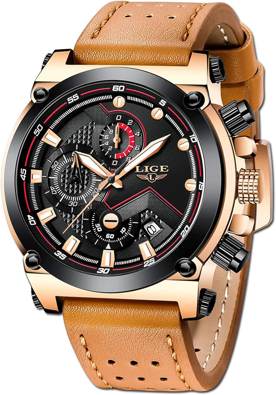 LIGE Relojes Hombre Militar Deportes Cronógrafo Hombre Negocio Analogicos Cuarzo Relojes: Amazon.es: Relojes
