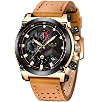 Men's Watches - Fashionable Golden Watches for Men - Classic Black Leather Watches with Automatic Date