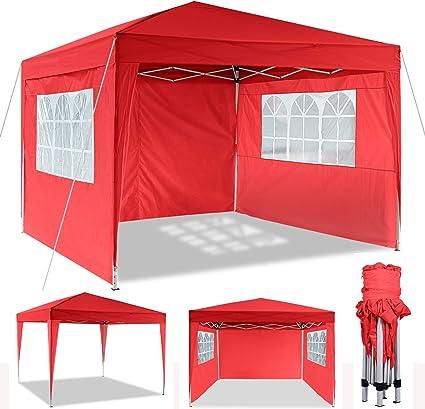 Cenador Plegable 3 x 3 m / 3 x 6 m, Resistente al Agua, para jardín, para Fiestas, Plegable, Gasa, Color Rojo, tamaño 3 x 3 m: Amazon.es: Jardín