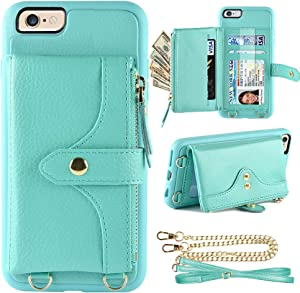 LAMEEKU Wallet Case Compatible with iPhone 6, iPhone 6s Wallet Case Zipper Case with Wrist Chain Crossbody Strap Card Holder Leather Case for iPhone 6/6s, 4.7 inches-Mint Green